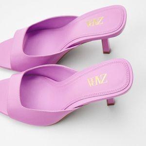 Zara pink purple square heeled sandals